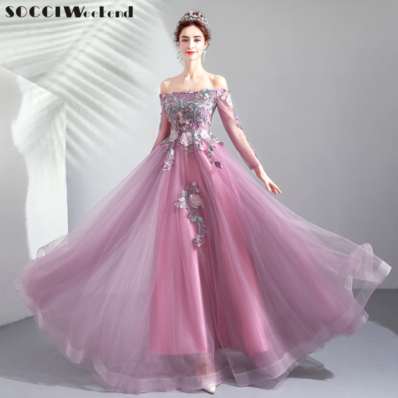 5570c6a59f16c SOCCI Evening Dress Elegant Red and Gold Embroidery Long Sleeve ...