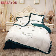 European luxury Bedding Sets linens Lace Duvet Cover Set 100% Polyester Embroidered Sheets 4pcs Full Queen King Size Bed