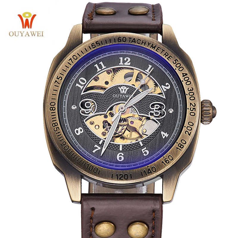 OUYAWE High Quality Vintage Fashion Style Automatic Mechanical Wristwatch Retro Genuine Leather Bracelet Watch Men & Women high quality european modern fabric chair dining chairs 1082