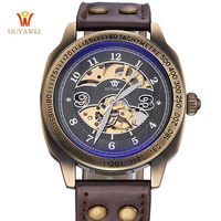 OUYAWE High Quality Vintage Fashion Style Automatic Mechanical Wristwatch Retro Genuine Leather Bracelet Watch Men Women