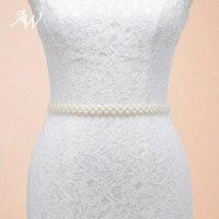 AW Avorio Da Sposa Fatto A Mano Cintura Sottile Cintura di Perle Da Sposa Elegante Sash con il Nastro di Organza
