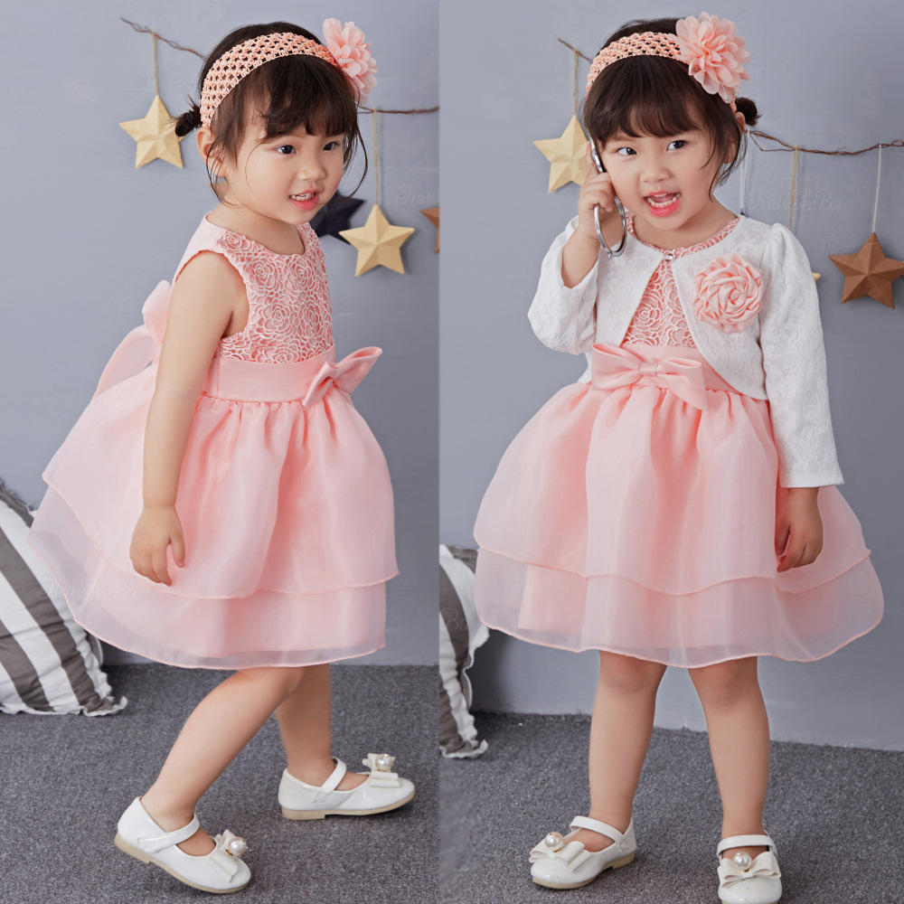 2017 New Brand Baby Girl Baptism Wedding Dress Princess Party Formal Prom Pageant Christening Dresses Kids Frock With Hair band