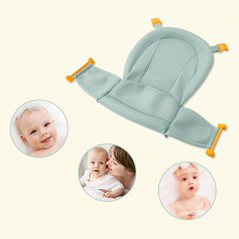Infant Baby Bath Adjustable Support For Bathtub Seat Sling Mesh Net Shower Blue