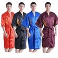7 Colors Plus Size S-XXXL Novelty Male Sleepwear Chinese Traditional Men'sRobe Embroider Dragon Robe Kimono Gown 011023