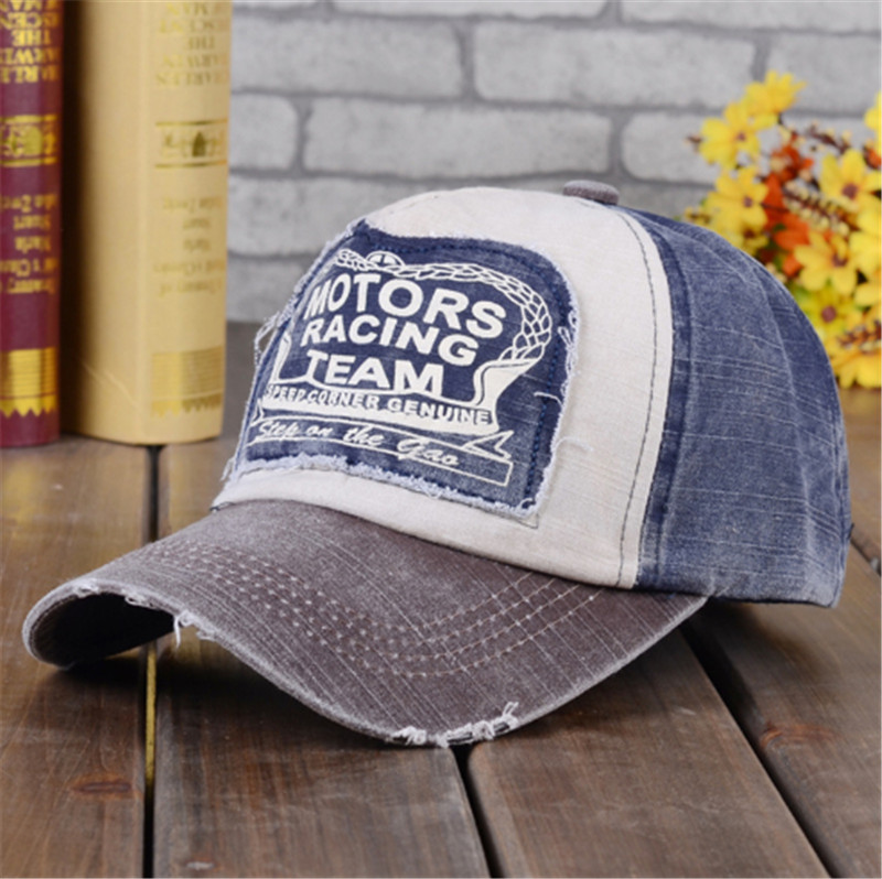 Womens Baseball Cap Ladies Adjustable Vintage Faded Wash Letters Color Matching Hat