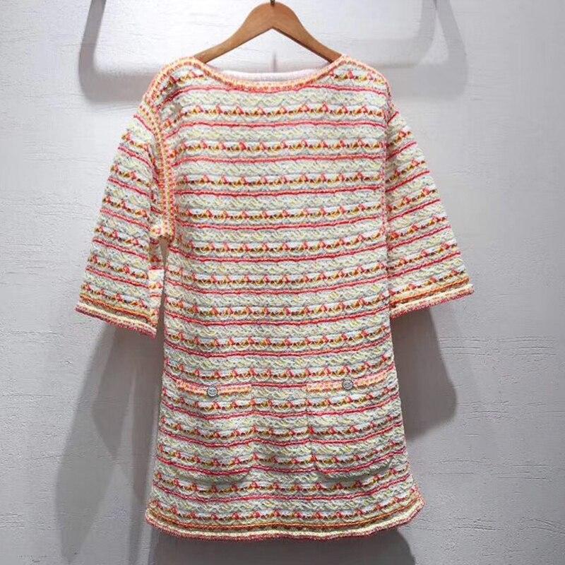Женское весеннее твидовое платье с коротким рукавом с круглым вырезом Высокое качество элегантное женское платье 2019 Новое Женское платье