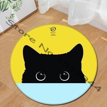 Alfombra redonda de diseño personalizado con dibujos de gatos para sala de...