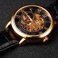 Mens Relógios Top Marca de Luxo Masculino Relógio Esqueleto Mecânico horloges mannen Ouro Caso Roma Analógico Mostrador do Relógio caixa de Presente