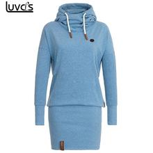 LUVCLS Women's Hoodies Funnel Neck Hooded Sweatshirt Women Casual Hoodies Bodycon Tunic Jumper Pullovers Hoodies Dress(China)