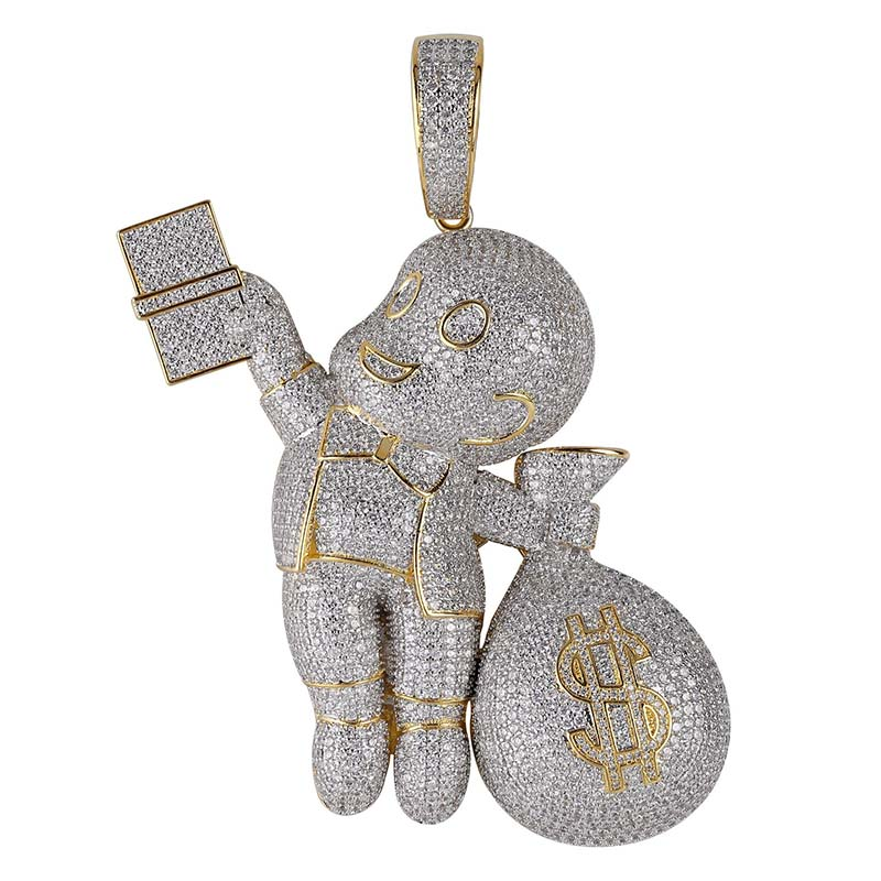 AAA Cubic Zircon Money bag Pendant Necklace Hip Hop Micro Pave CZ Necklace Gold Silver Color Chain Jewelry Gfit drop shippingAAA Cubic Zircon Money bag Pendant Necklace Hip Hop Micro Pave CZ Necklace Gold Silver Color Chain Jewelry Gfit drop shipping