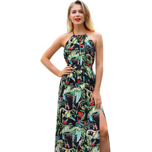 2019 Fashion European and American Womens Bohemian Sling Dress Summer Print Leaking Back Beach Vintage Maxi