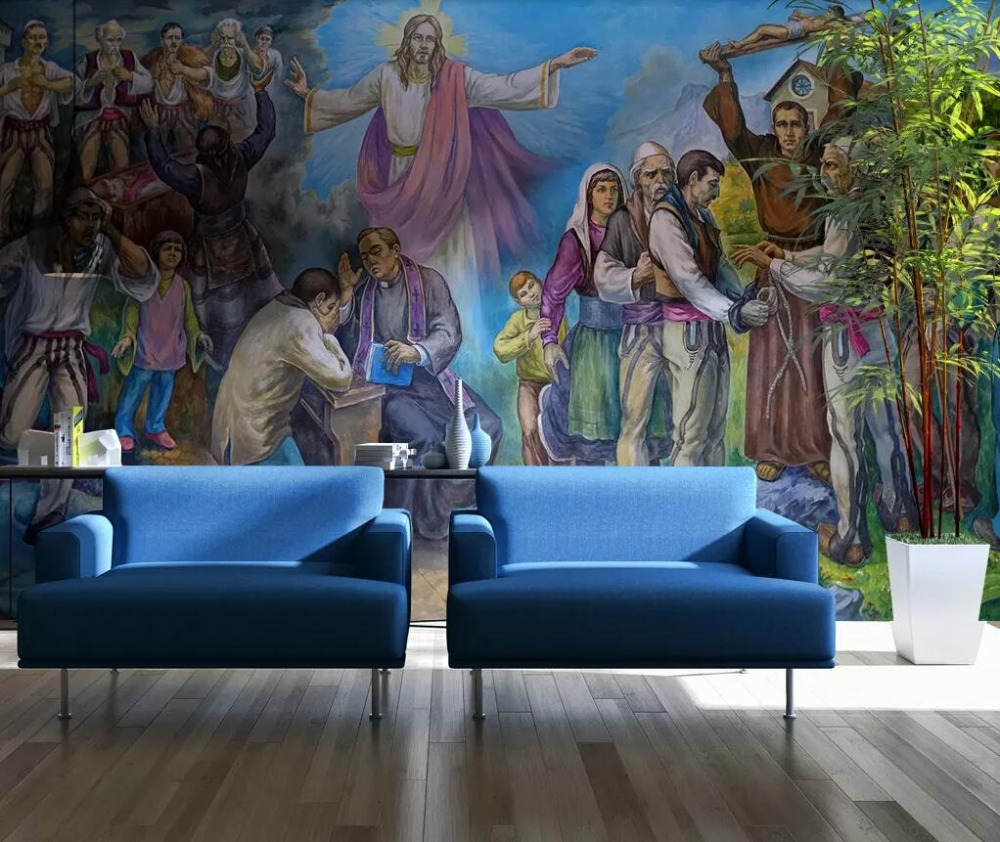 Custom 3D Jesus Christ Oil Painting Background Wall Painting