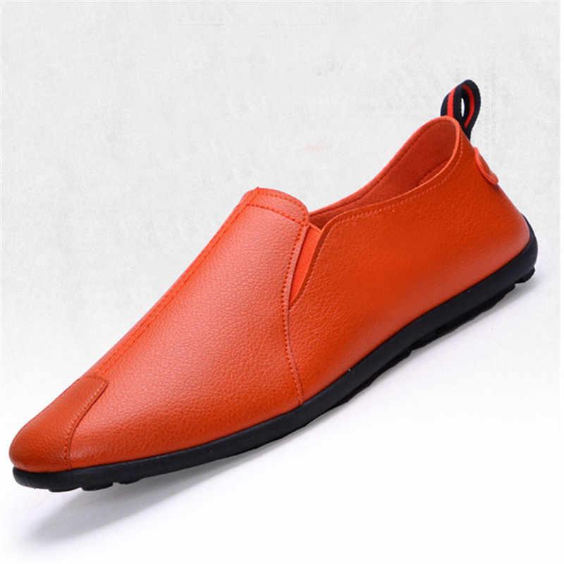 ใหม่หนังผู้ชายรองเท้าสบายๆหรูหรายี่ห้อ Mens Loafers Breathable Slip on สีดำขับรถรองเท้ารองเท้านุ่ม 2019