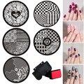 Оптовая продажа премиум устанавливает 10 шт. штамп + стампер + скребок ногтей печать изображения штамповка плиты маникюр шаблоны DIY пластины хе-хе комплекты