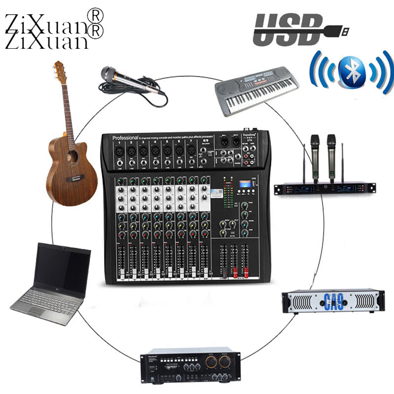 Professional 8 channel Audio Mixer Stage Performance Conference Microphone Sound Mixing Console With USB Bluetooth MP3 Player