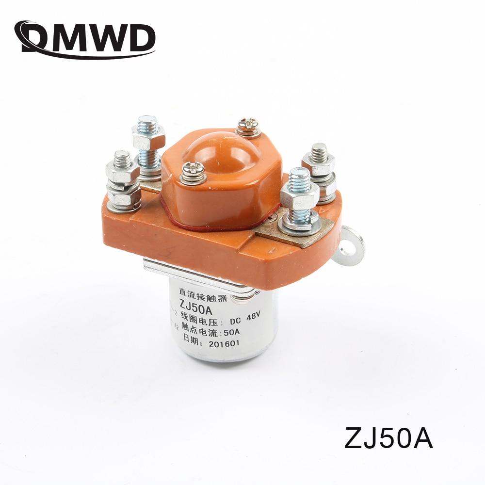ZJ50A NO (normalement ouvert) 12 v 24 v 36 v 48 v 60 v 72 v 50A DC Contacteur pour moteur chariot élévateur electromobile grab wehicle voiture treuil