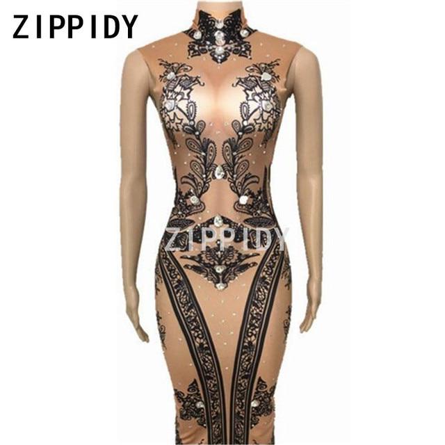 Black Flowers Pattern Big Crystals Nude Dress Female Singer Dancer Nightclub Outfit Women's Birthday Party Wear Sexy Long Dress