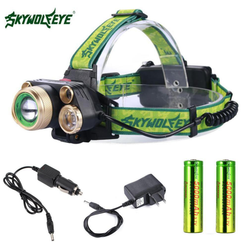 10000 Lm T6 Led Usb Headlight Flashlight 4 Modes Lamp 2 X 18650 Battery + Car Charger + Direct Charger Super Bright Superior Performance