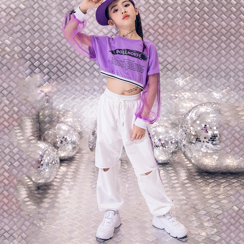 120-170CM New Jazz Dance Costume Girls Children'S Stage Costumes Hip-Hop Street Performance Clothes Kids Long Sleeve Suit DL3999