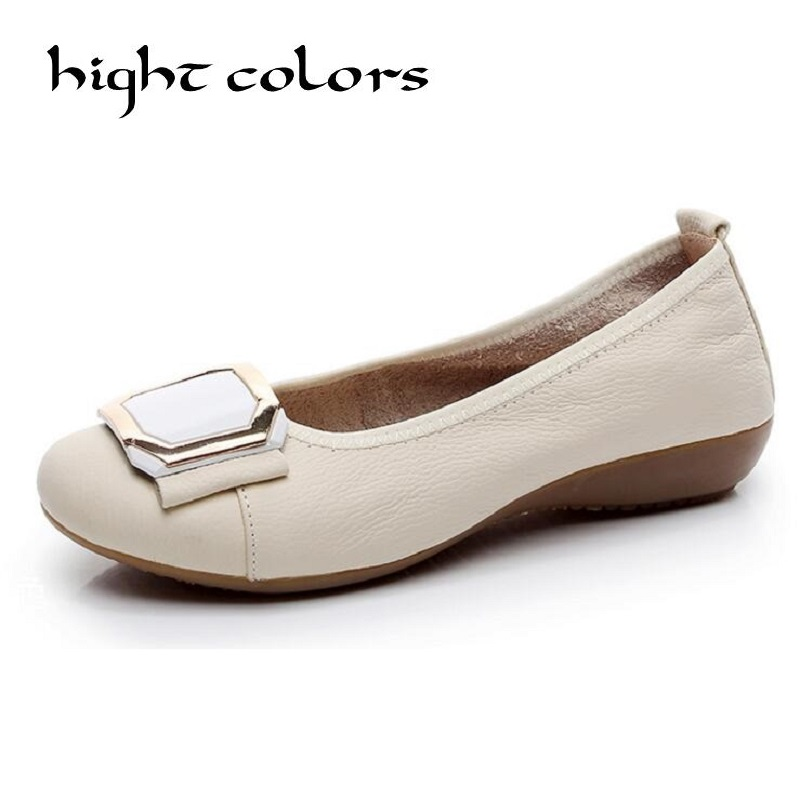 Genuine Leather Women Flats Spring Autumn Plus Big Size Brand Women Shoes Women Soft Comfortable Round Toe Female Casual Shoes beyarne rivets decoration brand shoes flats women spring autumn fashion womens flats boat shoes sexy ladies plus size 11