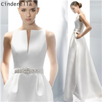 Cinderella-Simple-Style-Scoop-Sleeveless-A-Line-Court-Train-Lace-Up-Satin-Wedding-Dresses-Hand-Made