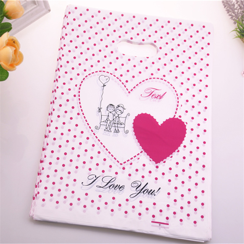 2016 New Design Wholesale 100pcs/lot 25*35cm Fashion Sweet Love Plastic Birthday Gift Packaging Large Clothing Bags