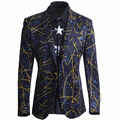 Blazer Men Fashion Unique Mens Slim Fit Single Button Printed Blazers Casual Brand Black Suit Jacket For Singer Terno Masculino