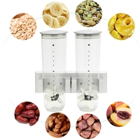 Double Cereal Dispenser Smart Space Wall Mount Dispenser Convenient Storage Portion ABS+PVC+PP Control Dry Food Keep Freshness