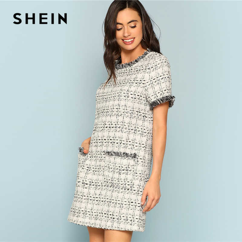 050aca19a3 ... SHEIN Grey Plaid Frayed Edge Button Detail Tweed Dress Elegant Frill  Straight Short Dresses Women Autumn ...