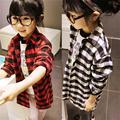 Camisa de los niños Niñas Niño Niños de Manga Larga Plaids Comprueba Camiseta Ropa 2-7Y