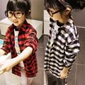 Children Shirt Girls Toddler Kids Long Sleeve Plaids Checks T Shirt Clothes 2-7Y