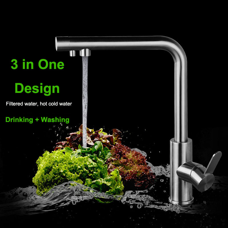 Brush Nickel 304 Stainless Steel Drinking Water Faucet Lead Free Water Filter Kitchen Faucet Osmosis 3 Way Filter Tap Sink Mixer free shipping soild brass lead free kitchen faucet mixer drinking water filter tap with filtered purified water spout wholesale