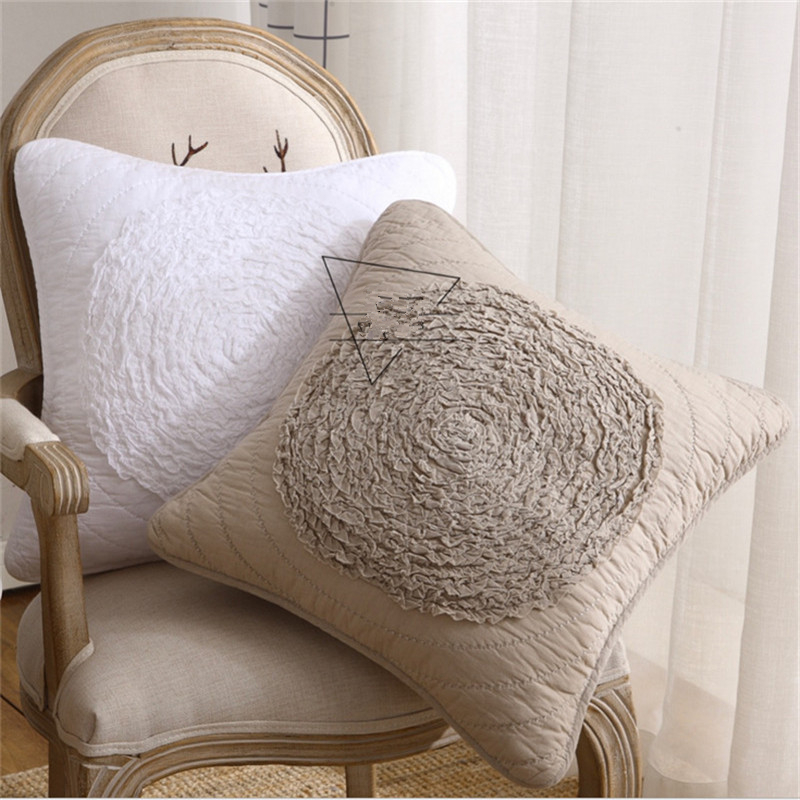 <font><b>50x50cm</b></font> 3D Flower Pillowcase Square Cotton Cloth Embroidered Cushion <font><b>Cover</b></font> Home Sofa Chair Decoration Throw <font><b>Pillow</b></font> Case image