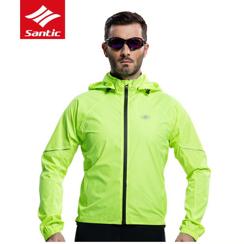 Santic Mens Windproof Cycling Jerseys Waterproof Reflective MTB Road Bike Raincoat with Removable Hat Outdoor Bicycle Clothing 2016 newest rainproof santic cycling jacket multi function bicycle jerseys windproof breathable mtb bike clothing raincoat
