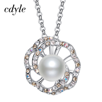 Cdyle Made With Swarovski Elements Necklace Women Pendants White Pearl Austrian Rhinestone Paved Fashion Simple Jewelry
