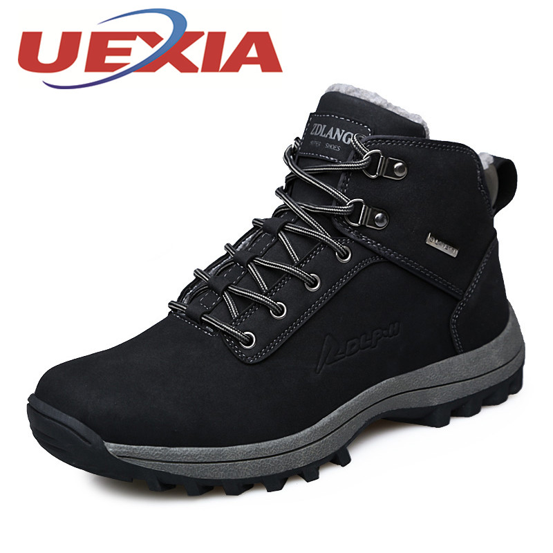 Plus Size 45 Winter Men Casual Work Boots Pu Leather Plush Warm Shoes Men Platform Ankle Boots Outdoor Hightop Shoes Timber Bota ...
