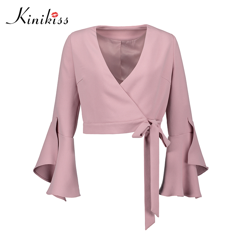 Kinikiss Elegant Short Coat Jacket Autumn Womens Jackets woven flare sleeve Pink V-neck lace up Casual Fall feminine coat