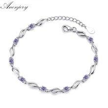 ANENJERY 925 Sterling Silver Charms Bracelets For Women Crystal Zircon Bracelet pulseira Valentine's Day present S-B101