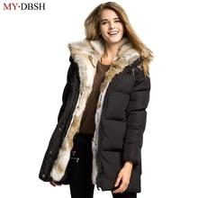 Fashion Women Down Jackets Keep Warm Winter Long Lady White Duck Down Parkas Thick Fur Collar Hoodies Jacket Winter Casual Coats
