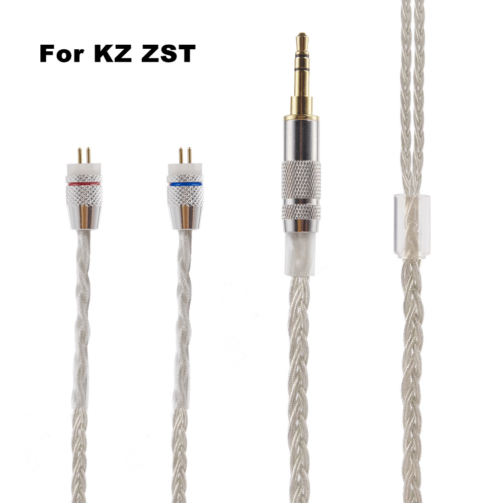 Newest KZ ZST Cable 2pin 0 75 mm Upgraded Silver Plated Cable Earphone Upgrade Cable for