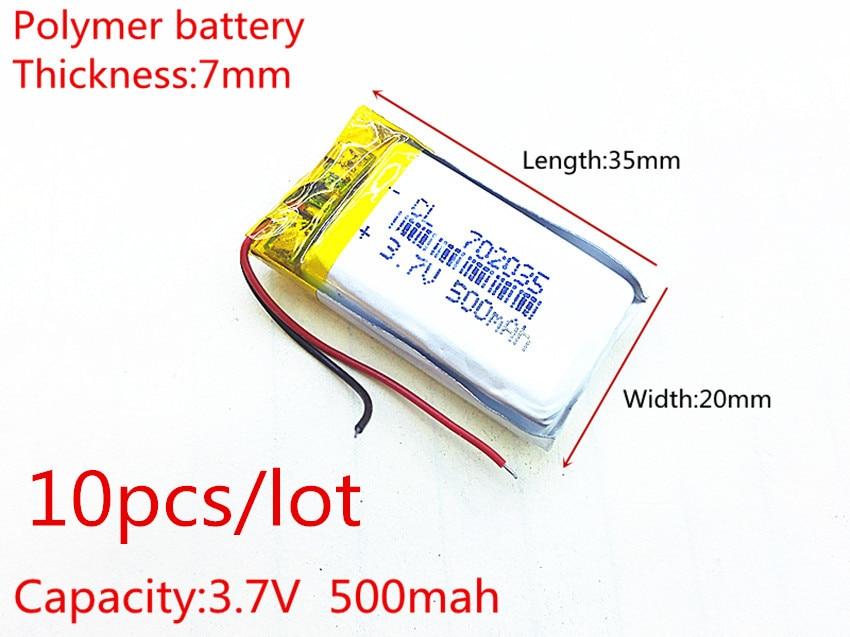 10 Teile/los Polymer Batterie 500 Mah 3,7 V 702035 Smart Home Mp3 Lautsprecher Li-ion Batterie Für Dvr, Gps, Mp3, Mp4, Handy, Lautsprecher