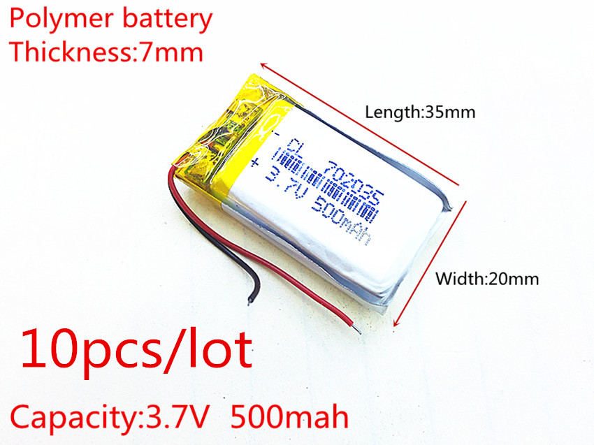 10pcs/lot Polymer battery <font><b>500</b></font> <font><b>mah</b></font> <font><b>3.7</b></font> <font><b>V</b></font> 702035 smart home MP3 speakers Li-ion battery for dvr,GPS,mp3,mp4,cell phone,speaker image