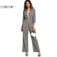 COLROVE 2016 New Arrival Female Black Gingham Band Collar Deep V Neck Long Sleeve Plaid Sexy