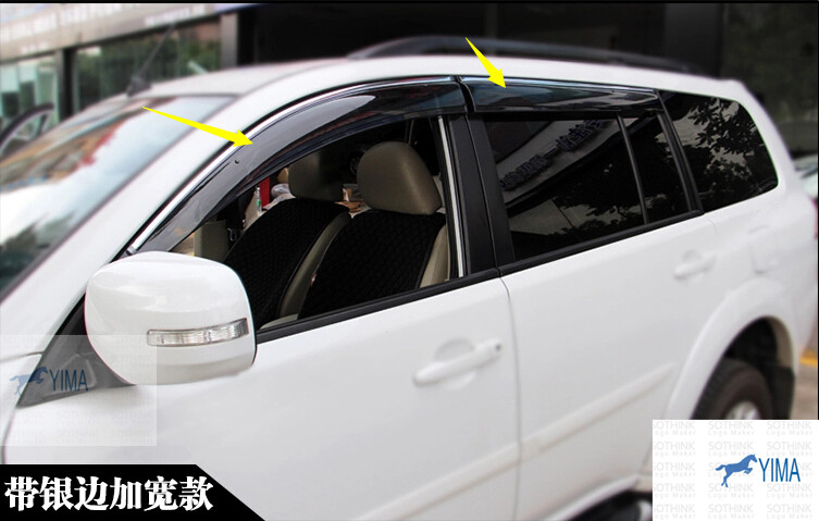 New! For Mitsubishi Montero Pajero Sport 2011 - 2014 Window Visors Awnings Wind Rain Deflector Visor Guard Vent 4 Pcs / set 2007 2008 2009 2010 2011 2012 2013 hatch window door rain guard vent wind deflector visors fit for mazda demio mazda2