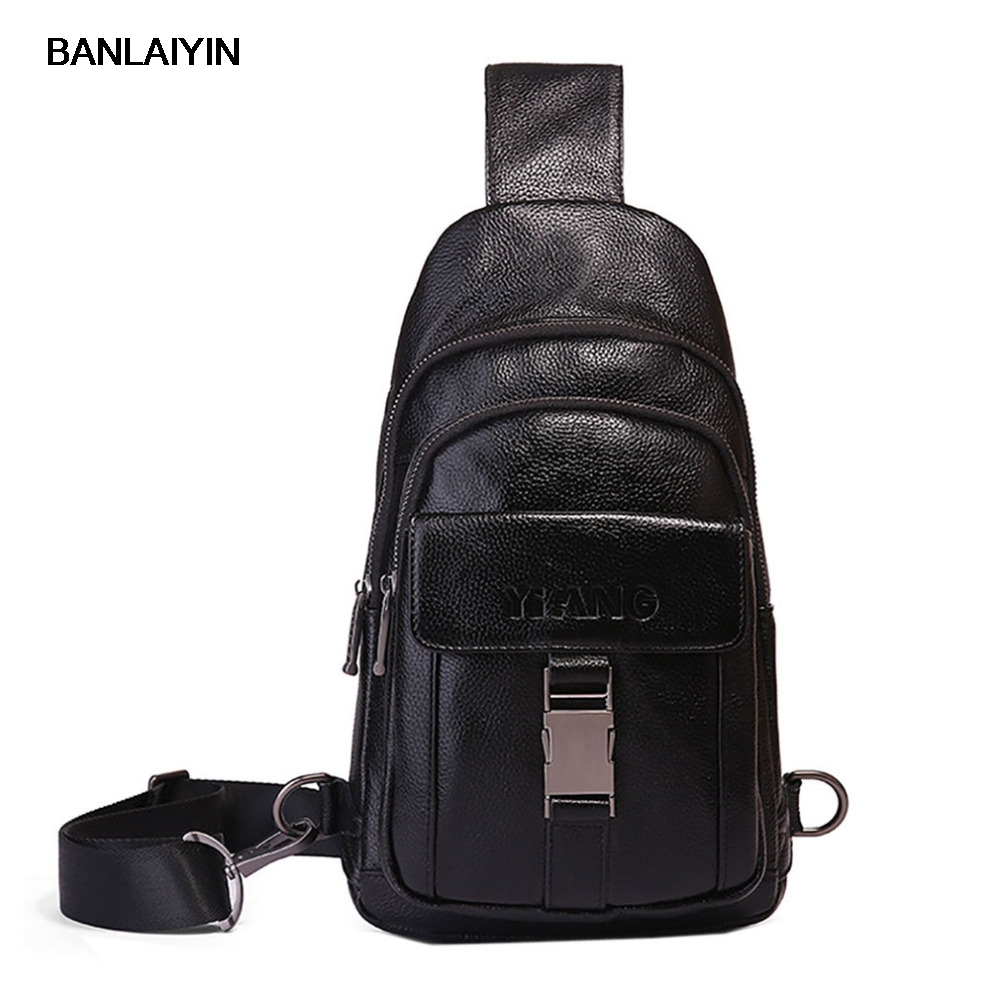 New Top Quality Genuine Leather Men Sling Chest Back Day Pack Travel Riding Casual Fashion Cross Body Messenger Shoulder Bag new high quality genuine leather cell mobile phone case small messenger shoulder cross body belt bag men fanny waist hook pack