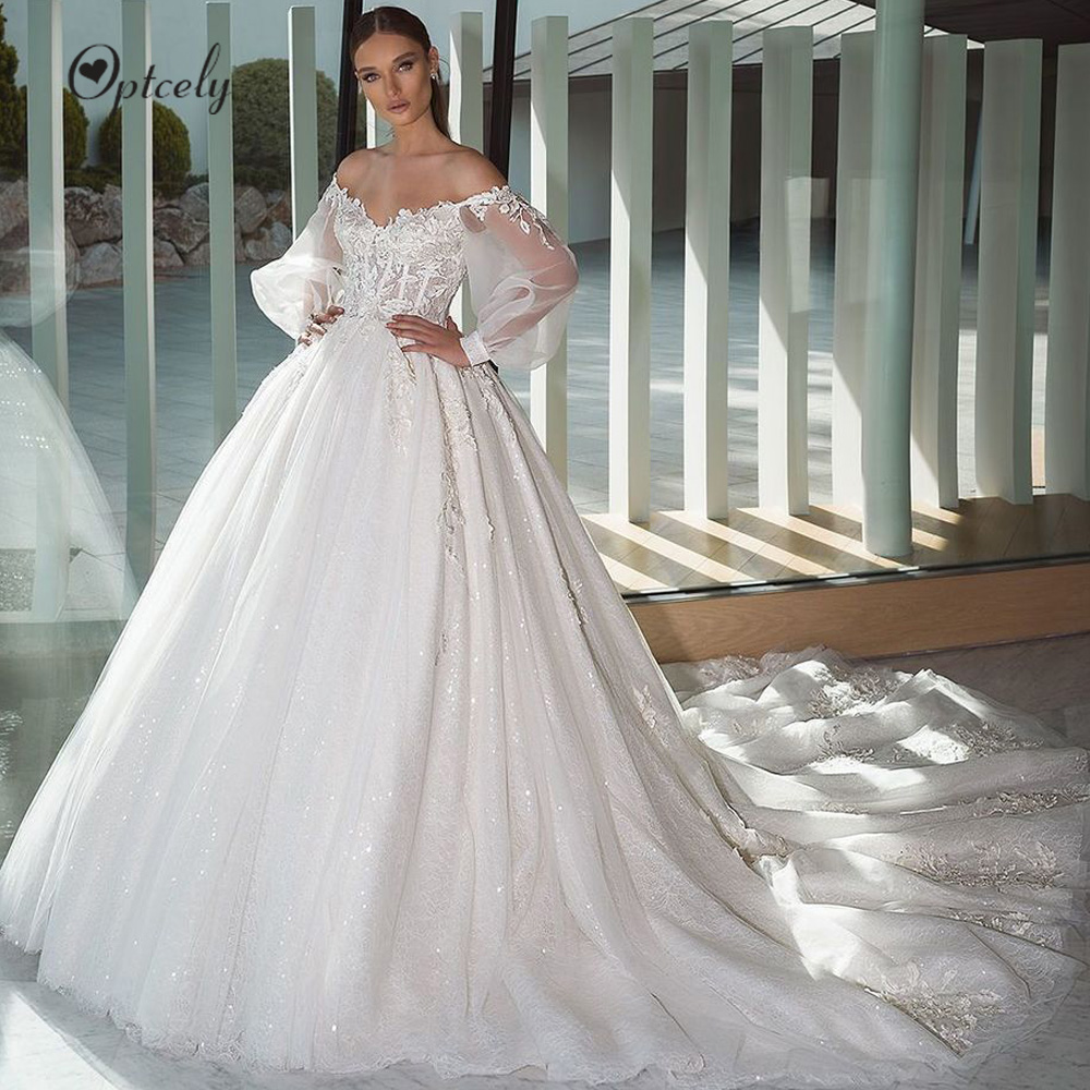 Optcely Illusion Boat Neck Lace Beach A-Line Wedding Dresses 2019 Elegant Appliques Puff Sleeve Sweep Train Vintage Bridal Gown