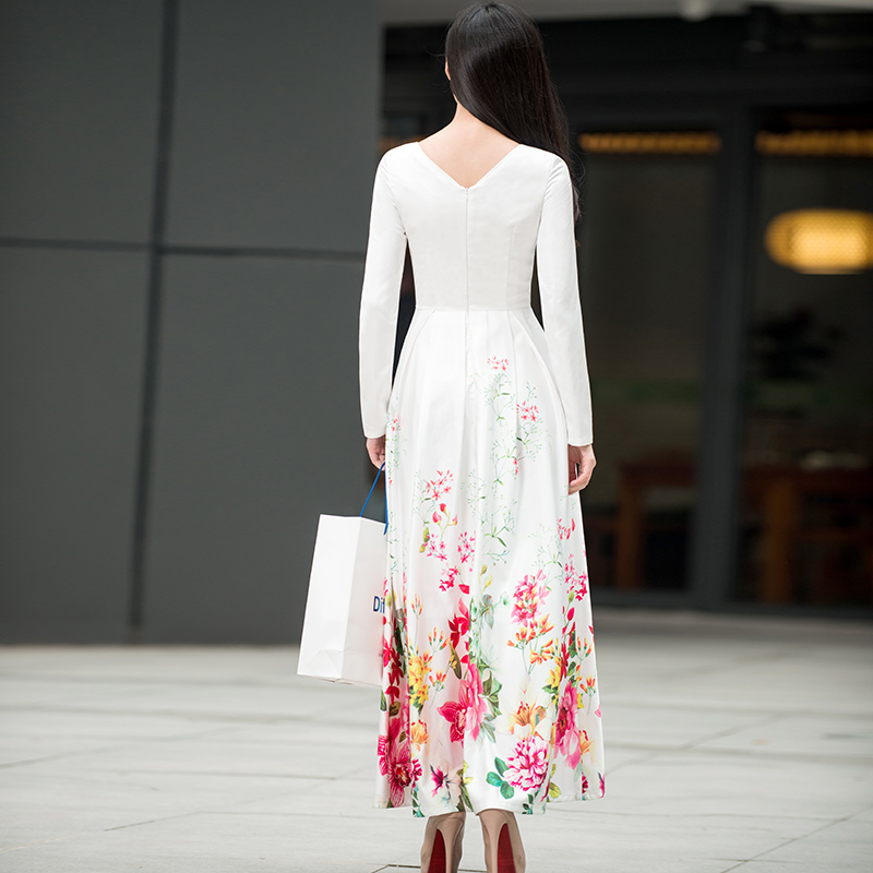 Long Sleeve Maxi Dress New Style 2018 Spring Women Sweet Rainbow Color Floral Print White Long Dress Plus Size Clothing Ladies