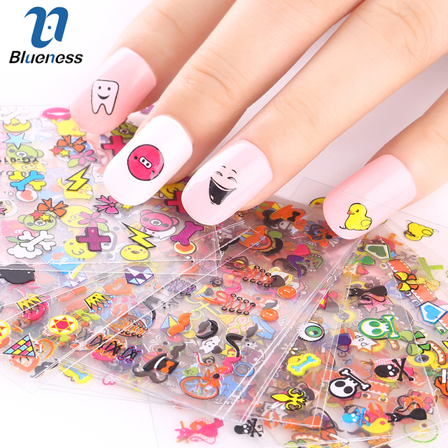 24 Designs 3D Colorful Pig Face Cross Love Heart 3D Stickers For Nails DIY  Decorations Tools - 24 Designs 3D Colorful Pig Face Cross Love Heart 3D Stickers For