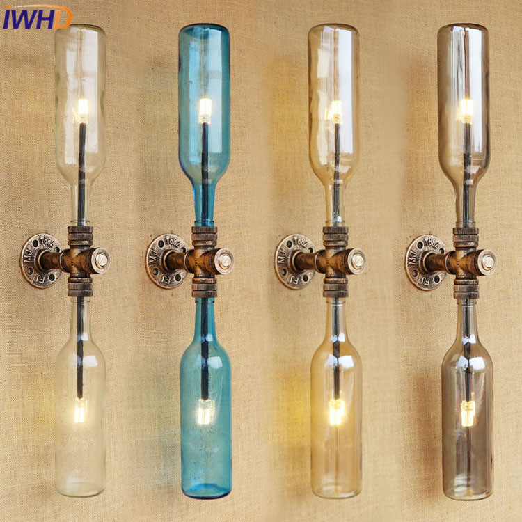 IWHD Retro American Loft Industrial Wall Lamps Vintage Bedside LED Wall Light Iron Lampshade Water Pipe Light Fixtures Lamparas loft