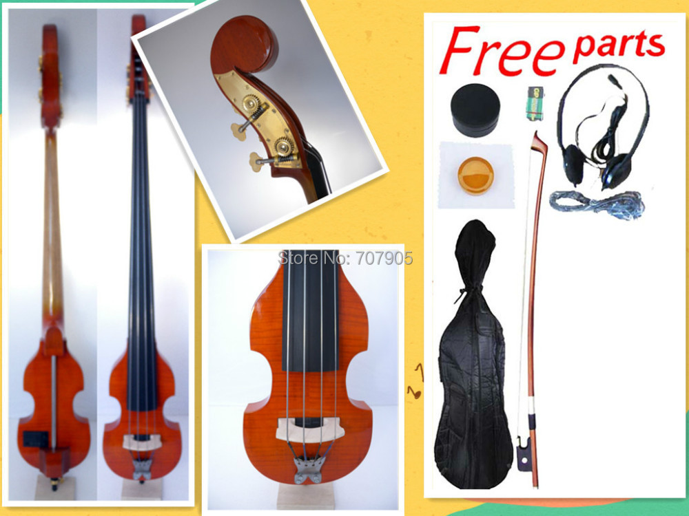 003208# 4  string 3/4 new    Electric Upright Double Bass Finish silent Powerful Sound 00120 1 4 string brown 3 4 new electric upright double bass finish silent powerful sound